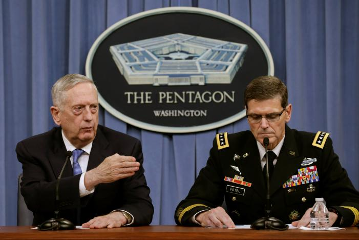 Defense Secretary James Mattis and Army Gen. Joseph Votel, brief the media at the Pentagon